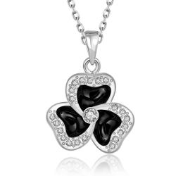 Vienna Jewelry White Gold Plated Spiral Clover Pendant Necklace - Thumbnail 0