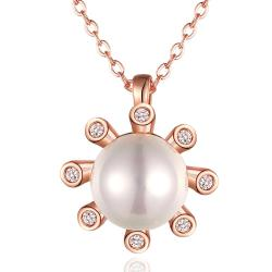 Vienna Jewelry Rose Gold Plated Pearl Snowflake Necklace - Thumbnail 0