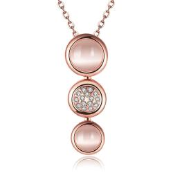 Vienna Jewelry Rose Gold Plated Trio Circular Emblem Dangling Necklace - Thumbnail 0