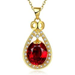 Vienna Jewelry Gold Plated Ruby Gem Spiral Drop Necklace - Thumbnail 0