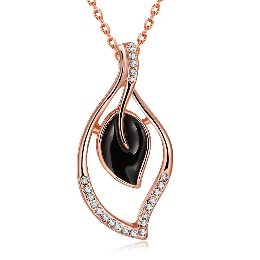 Vienna Jewelry Rose Gold Plated Petite Onyx Petals Necklace