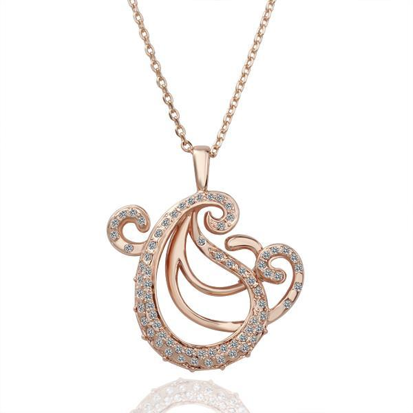 Vienna Jewelry Rose Gold Plated Abract Paris Curved Necklace