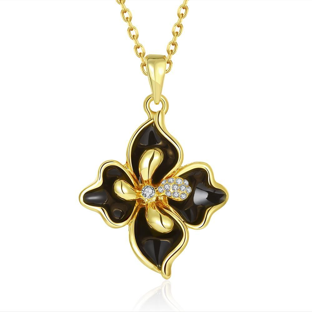Vienna Jewelry Gold Plated Onyx Diamond Petals Necklace