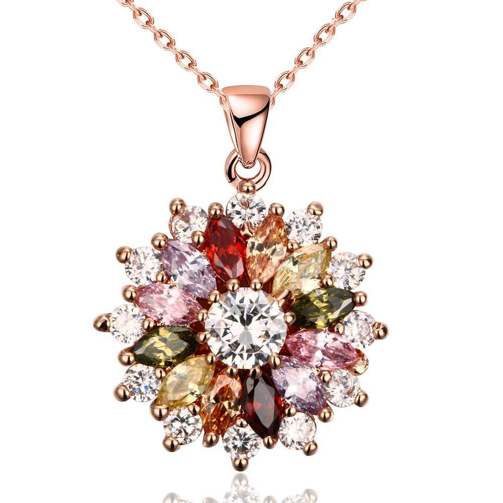 Vienna Jewelry Rose Gold Plated Multi-Jewels Necklaces