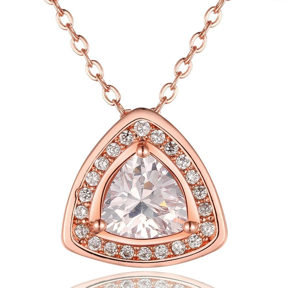 Vienna Jewelry Rose Gold Plated Pyramid Drop Necklace