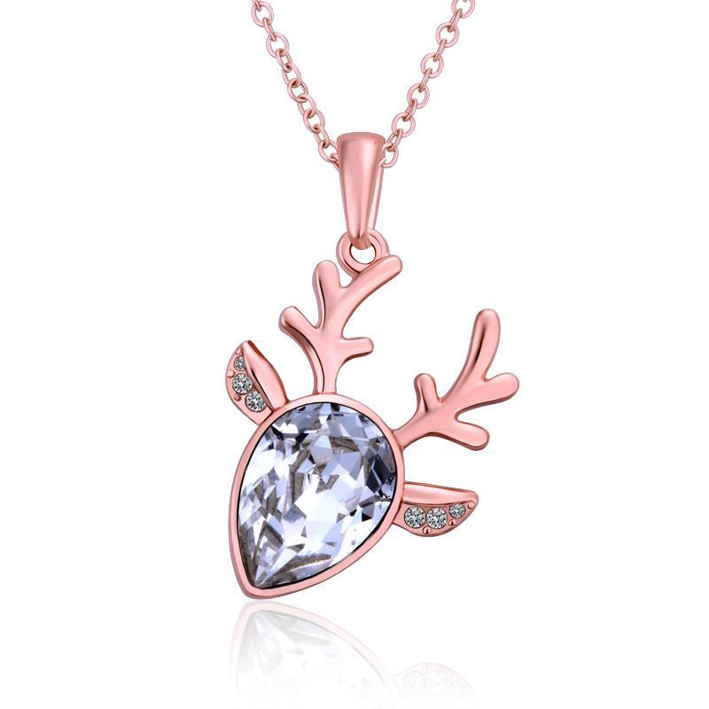 Vienna Jewelry Rose Gold Plated Crystal Moose Antlers Necklace