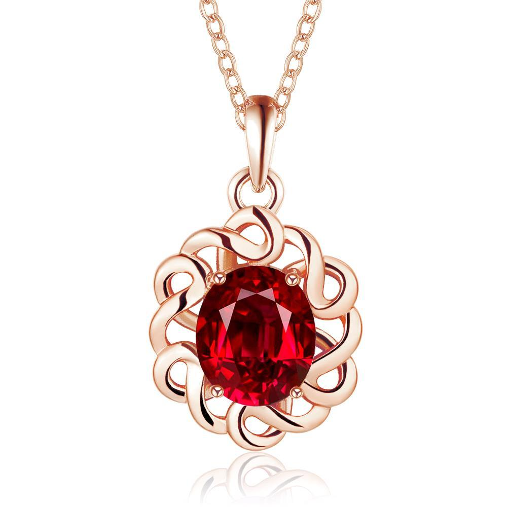 Vienna Jewelry Rose Gold Plated Spiral Ruby Necklace
