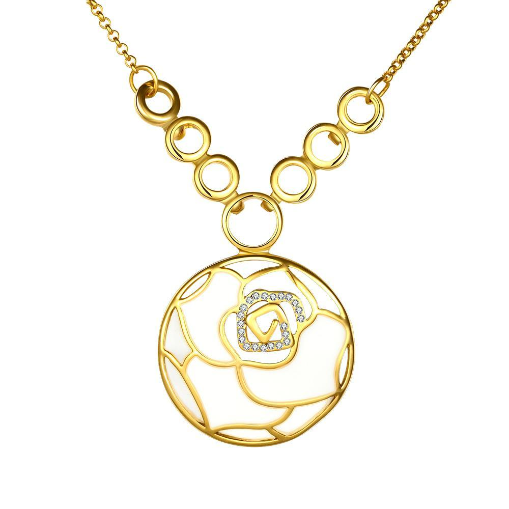 Vienna Jewelry Gold Plated Ivory Floral Emblem Necklace