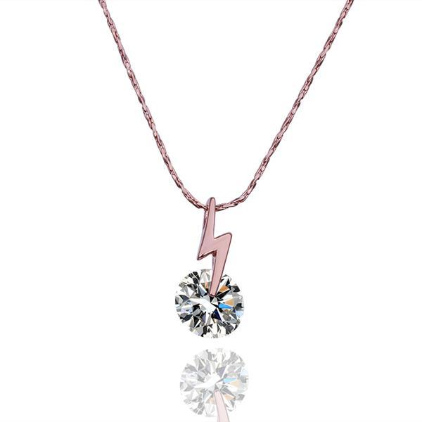 Vienna Jewelry Rose Gold Plated Lighting Rod Necklace