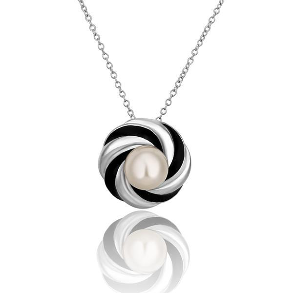 Vienna Jewelry White Gold Plated Circular Gold & Onyx Emblem Necklace