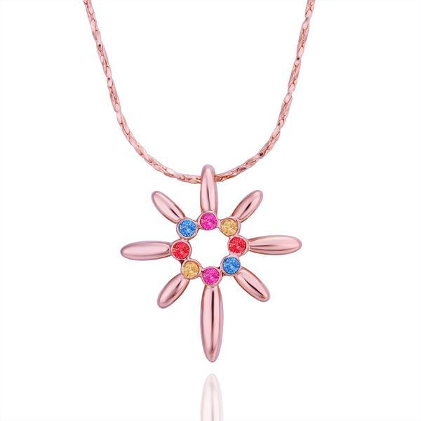 Vienna Jewelry Rose Gold Plated Start Shaped Rainbow Jewels Necklace