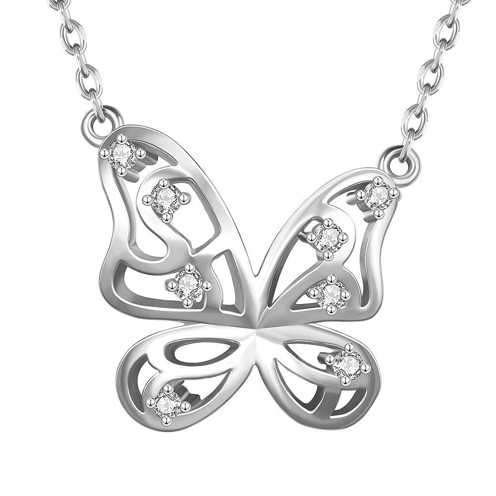 Vienna Jewelry White Gold Plated Hollow Butterfly Emblem Necklace