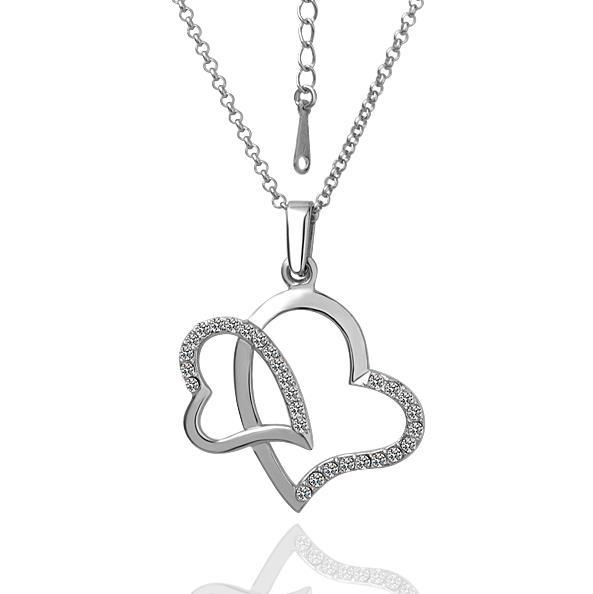 Vienna Jewelry White Gold Plated Double Covering Heart Shaped Necklace
