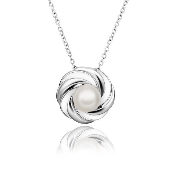 Vienna Jewelry White Gold Plated Circular Gold & Ivory Emblem Necklace