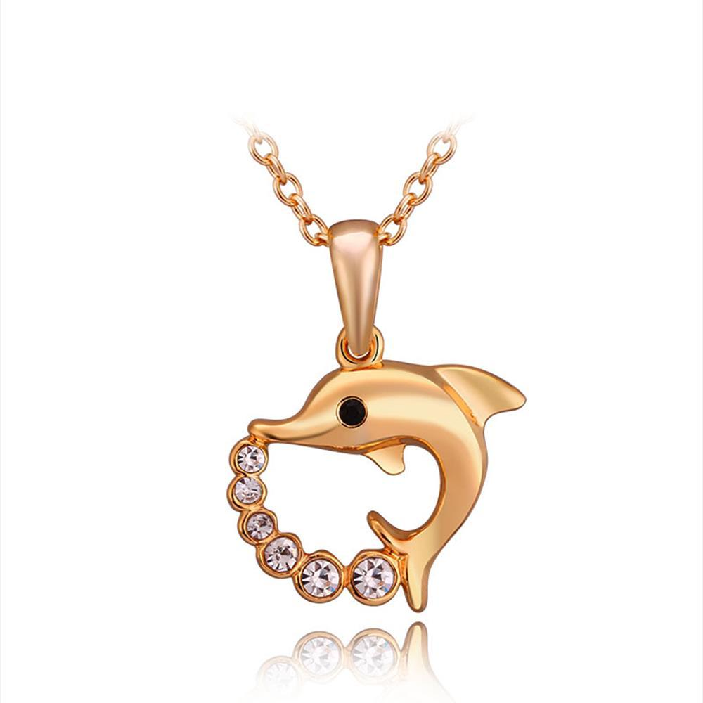 Vienna Jewelry Petite Gold Plated Spiral Dolphin Necklace