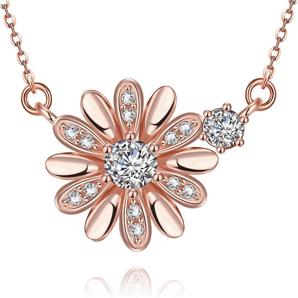 Vienna Jewelry Rose Gold Plated Snowflake * Pendant Necklace