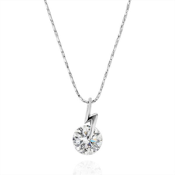 Vienna Jewelry White Gold Plated Crystal Center Necklace