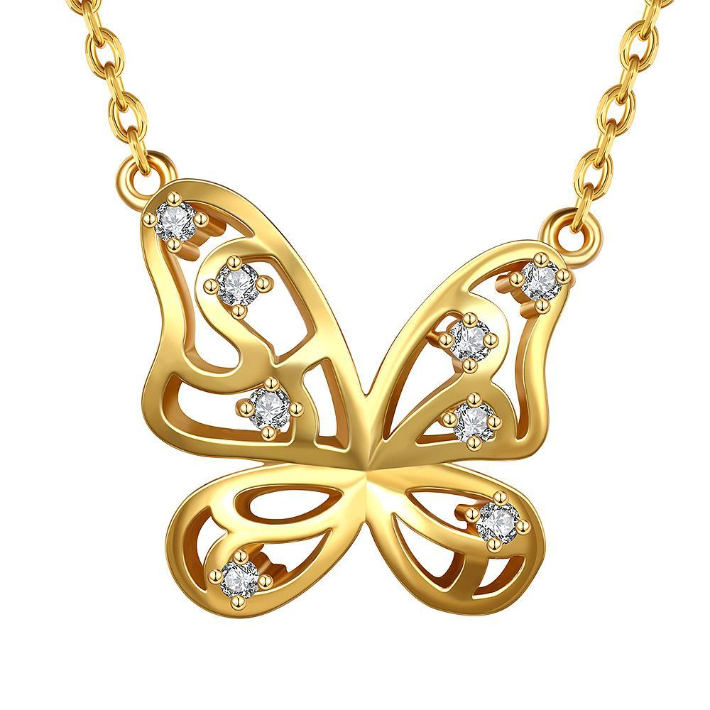 Vienna Jewelry Gold Plated Hollow Butterfly Emblem Necklace