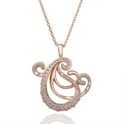 Vienna Jewelry Rose Gold Plated Abract Paris Curved Necklace - Thumbnail 0