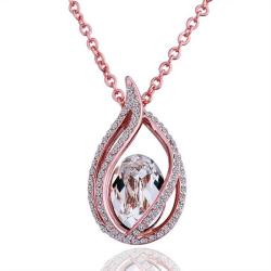 Vienna Jewelry Rose Gold Plated Blossoming Emblem with Crystal Center Necklace - Thumbnail 0