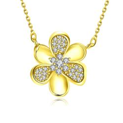 Vienna Jewelry Gold Plated Mini Clover * Pendant Necklace - Thumbnail 0