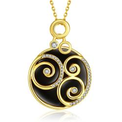 Vienna Jewelry Gold Plated Spiral Onyx Pendant Necklace - Thumbnail 0