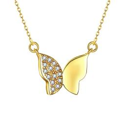 Vienna Jewelry Gold Plated Mini Butterfly Necklace - Thumbnail 0