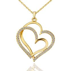 Vienna Jewelry Gold Plated Double Hearts with Jewels Insert Necklace - Thumbnail 0