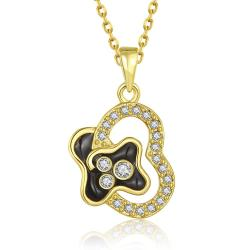 Vienna Jewelry Gold Plated Curved Onyx Heart Necklace - Thumbnail 0