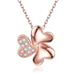 Vienna Jewelry Rose Gold Plated Petite Trio-Clover Necklace - Thumbnail 0