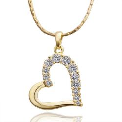 Vienna Jewelry Gold Plated Hollow Hearts with Crystal Covering Necklace - Thumbnail 0