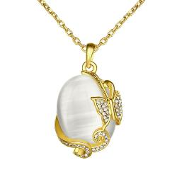 Vienna Jewelry Gold Plated Ivory Pearl Spiral Pendant Necklace - Thumbnail 0