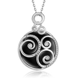 Vienna Jewelry White Gold Plated Spiral Onyx Pendant Necklace - Thumbnail 0