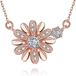 Vienna Jewelry Rose Gold Plated Snowflake * Pendant Necklace - Thumbnail 0