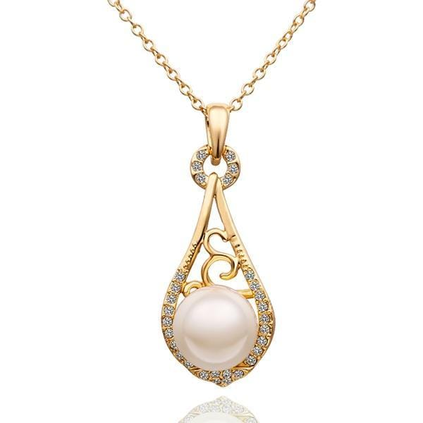 Vienna Jewelry Gold Plated Curved Pearl Emblem Drop Necklace