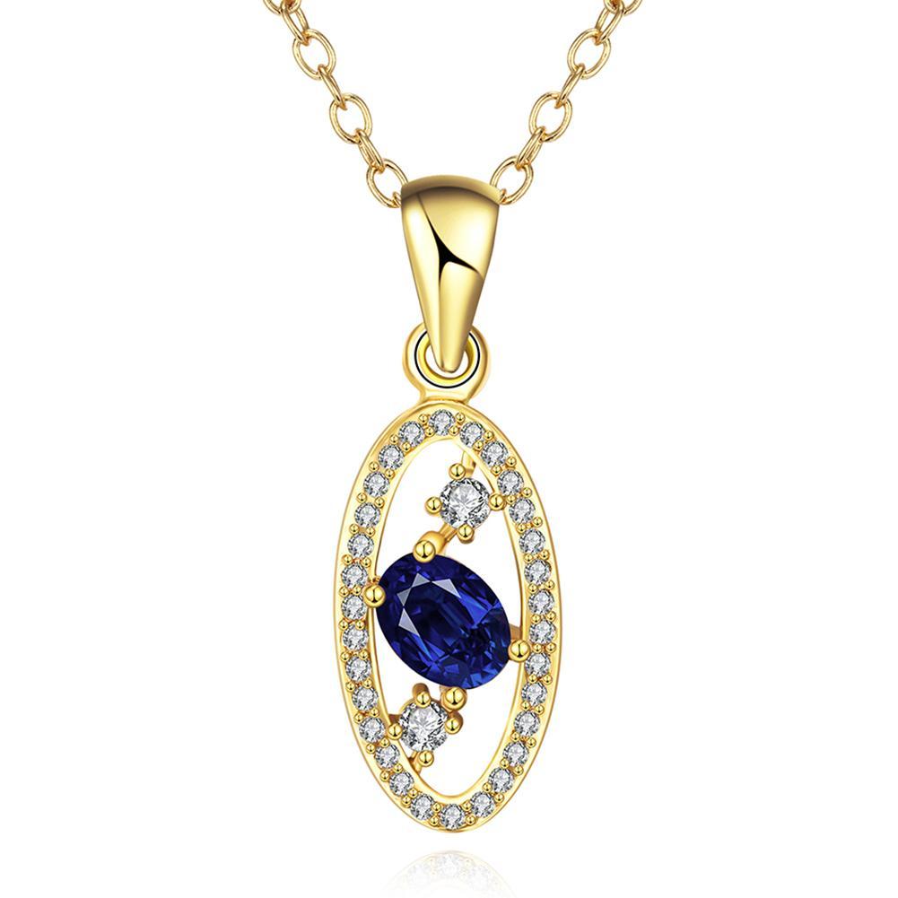 Vienna Jewelry Gold Plated Saphire Trio Gem Necklace