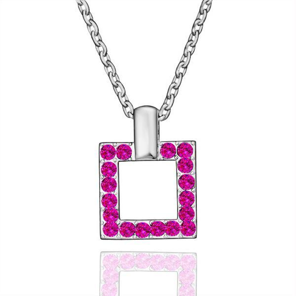 Vienna Jewelry White Gold Plated Square Shaped Coral Citrine Jewels Necklace