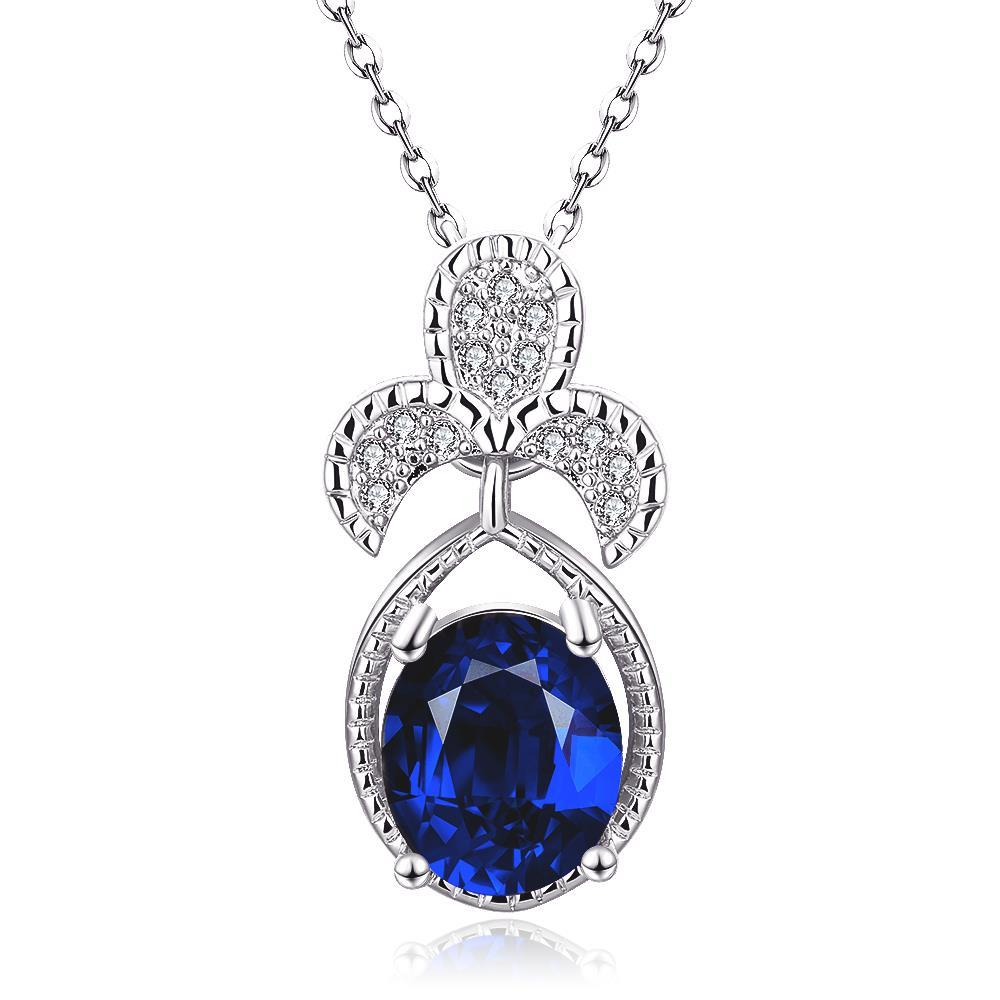 Vienna Jewelry White Gold Plated Trio Petals Sapphire Pendant Necklace