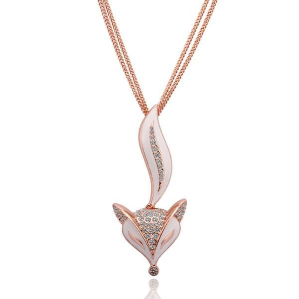 Vienna Jewelry Rose Gold Plated Sly Ivory Fox Necklace