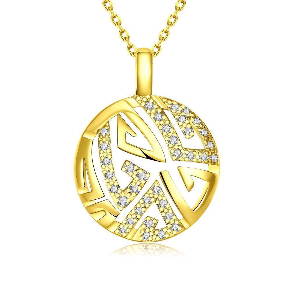 Vienna Jewelry Gold Plated Oriental Emblem Necklace