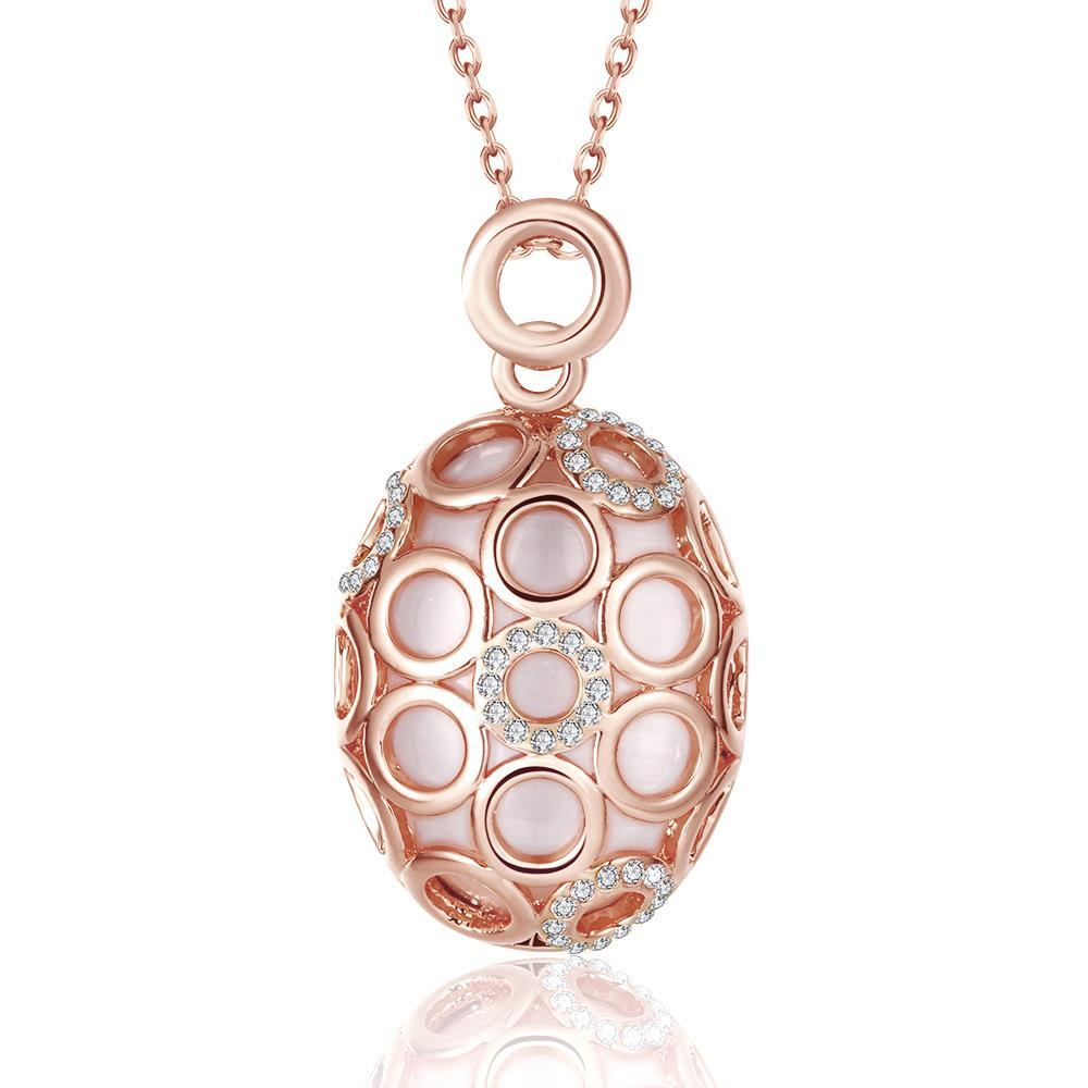 Vienna Jewelry Rose Gold Plated Circular Swirl Pendant Necklace