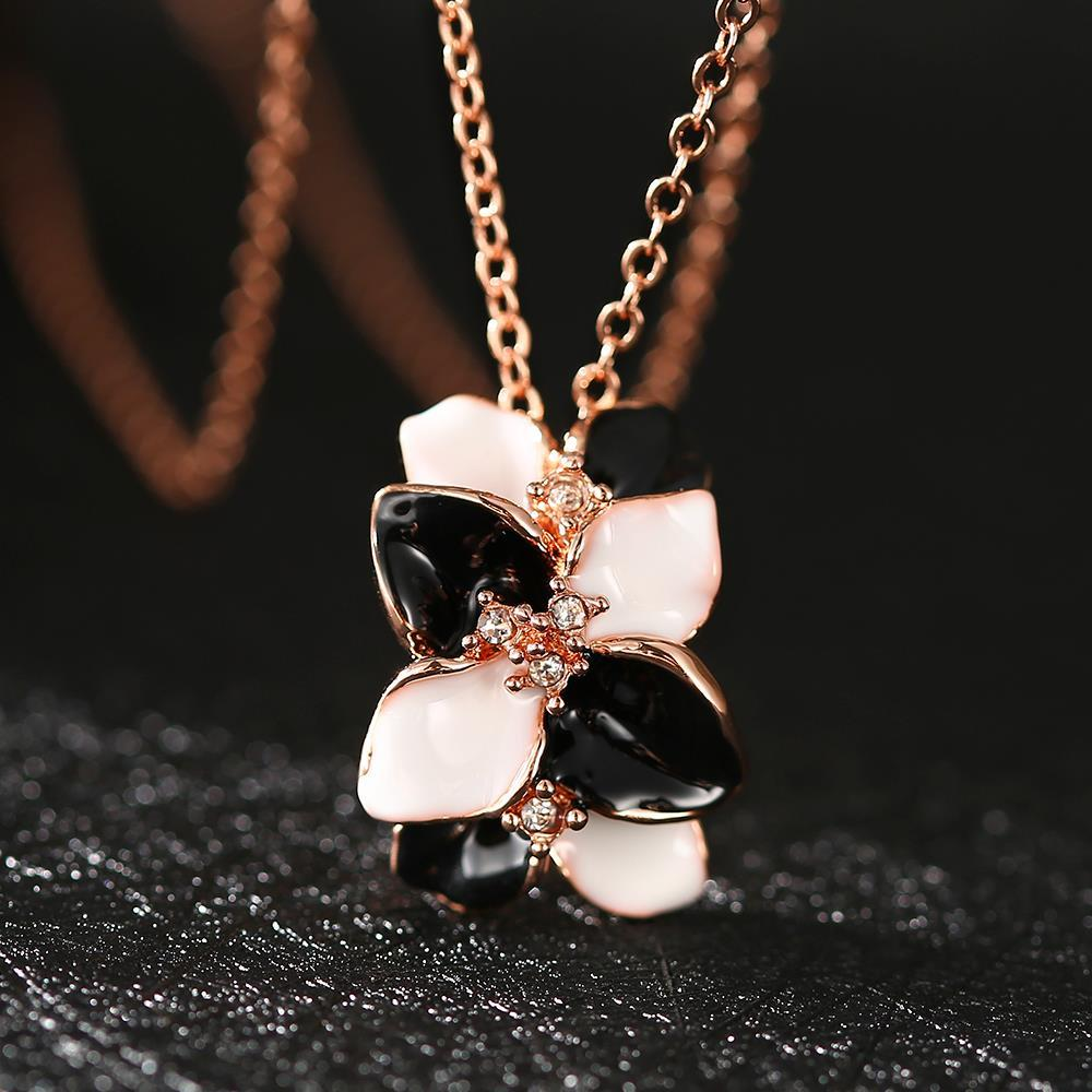 Vienna Jewelry Rose Gold Plated Onyx & Ivory Floral Orchid Necklace