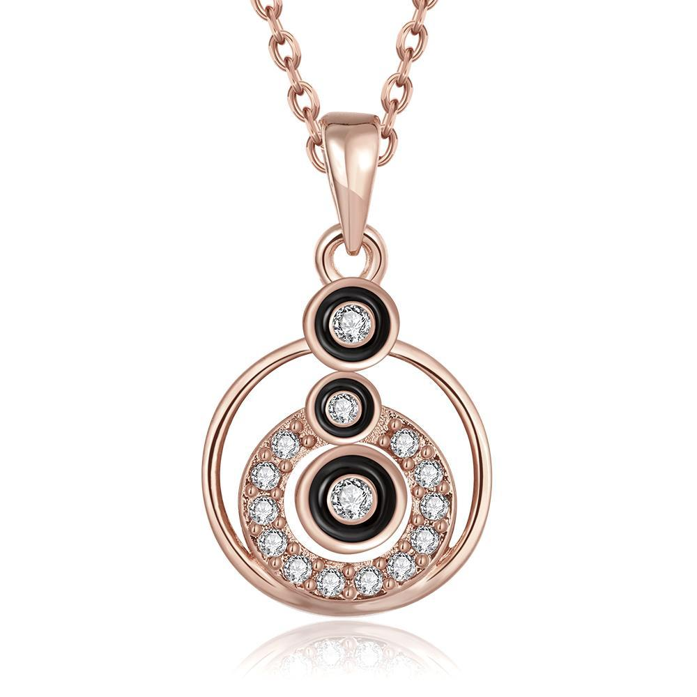 Vienna Jewelry Rose Gold Plated Trio-Circular Drop Necklace