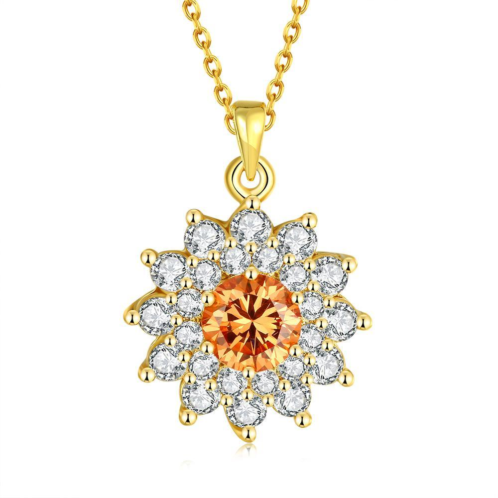 Vienna Jewelry Gold Plated Snowflake Citrine Necklace