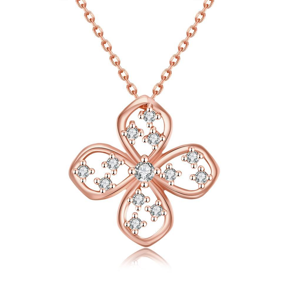 Vienna Jewelry Rose Gold Plated Four-Sided Clover Necklace