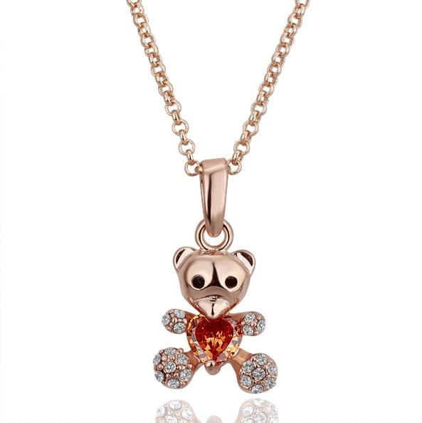 Vienna Jewelry Rose Gold Plated Petite Teddy Bear with Orange Citrine Necklace