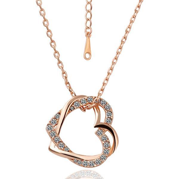 Vienna Jewelry Rose Gold Plated Crystal Inlay Necklace