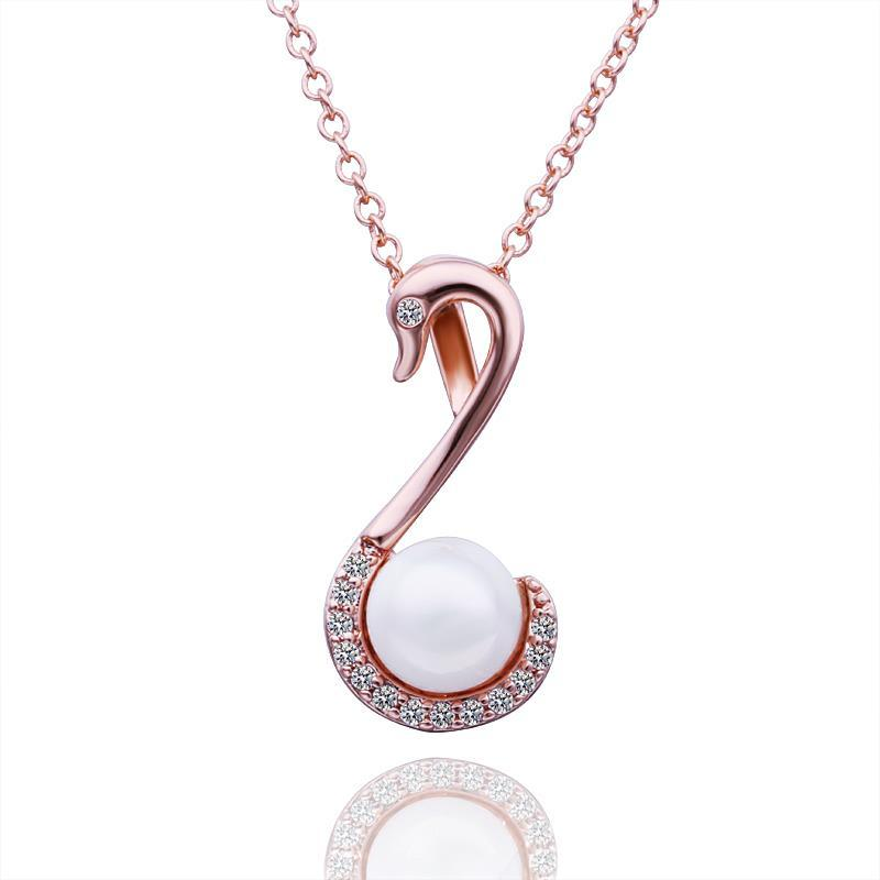 Vienna Jewelry Rose Gold Plated Pearl Hook Dangling Drop Necklace
