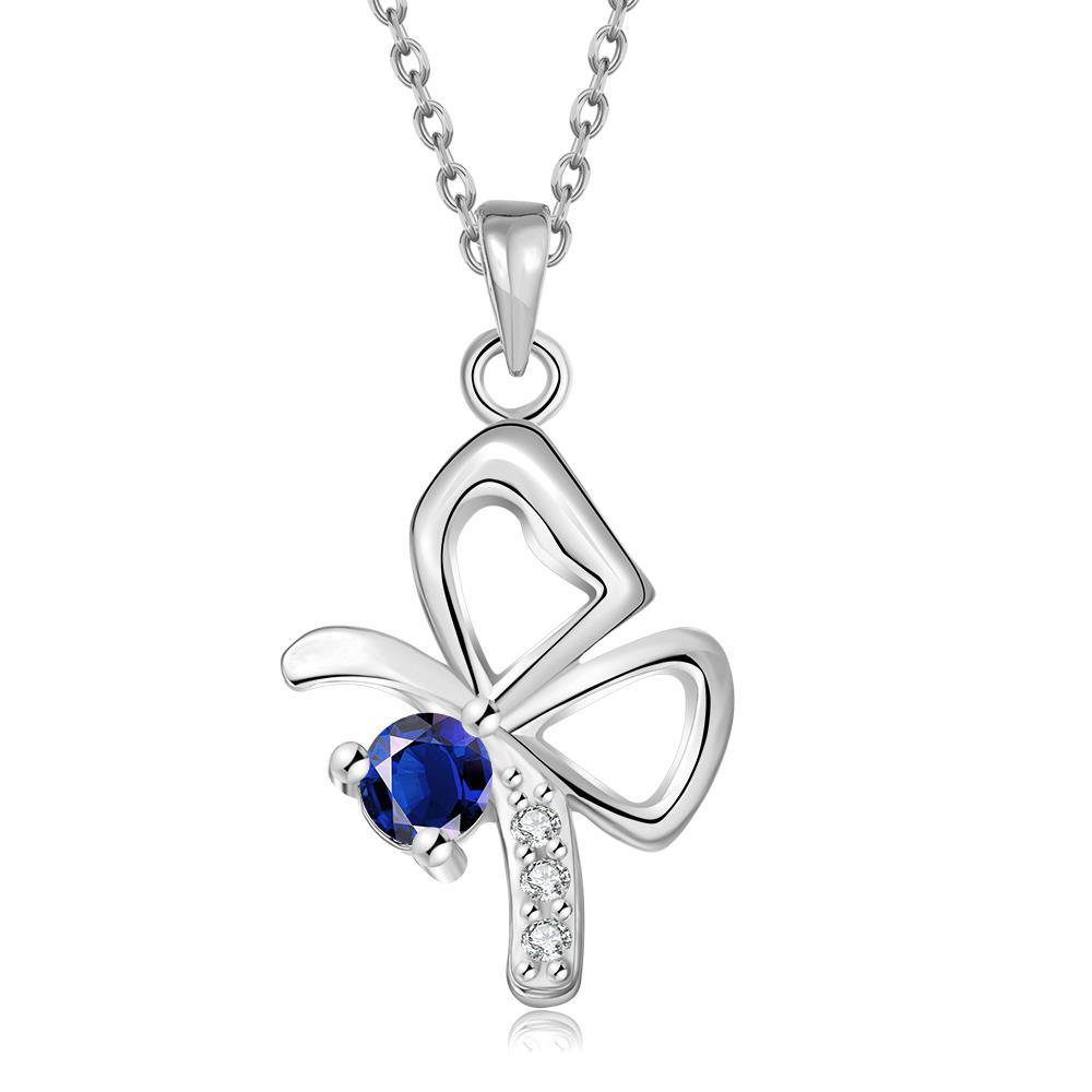 Vienna Jewelry White Gold Plated Petite Flying Butterfly Necklace