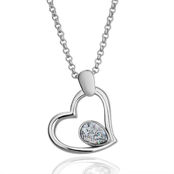 Vienna Jewelry White Gold Plated Hollow Heart Necklace with Crystal Center